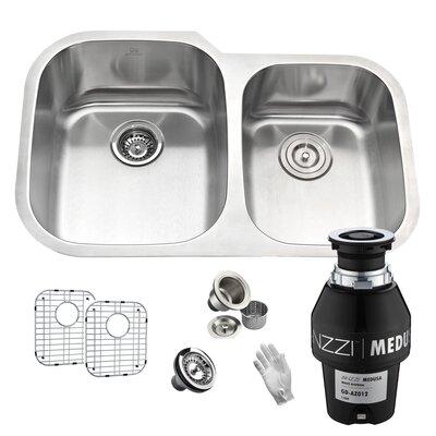 Moore Stainless Steel 60/40 32 x 21 Double Basin Undermount Kitchen Sink Garbage Disposal: 1/2 HP