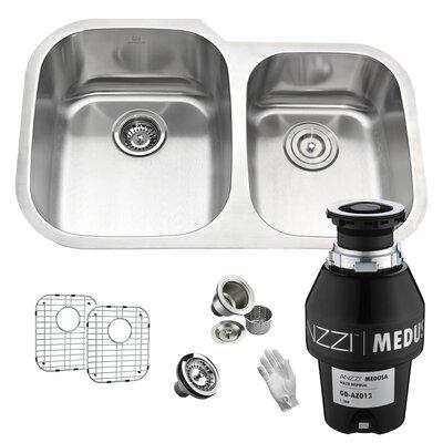 Moore Stainless Steel 60/40 32 x 21 Double Basin Undermount Kitchen Sink Garbage Disposal: 1/3 HP