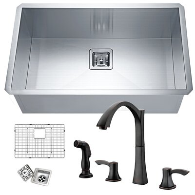 Vanguard Stainless Steel 30 x 18 Undermount Kitchen Sink with Faucet Faucet Finish: Oil Rubbed Bronze