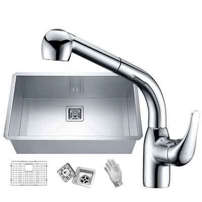 Vanguard Stainless Steel 30 x 18 Undermount Kitchen Sink with Faucet Faucet Finish: Polished Chrome