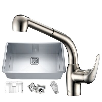Vanguard Stainless Steel 30 x 18 Undermount Kitchen Sink with Faucet Faucet Finish: Brushed Nickel