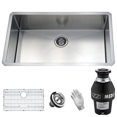 Vanguard Stainless Steel 32 x 19 Undermount Kitchen Sink Garbage Disposal: 1/3 HP