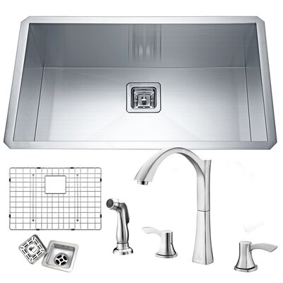 Vanguard Stainless Steel 32 x 19 Undermount Kitchen Sink with Faucet Faucet Finish: Brushed Nickel
