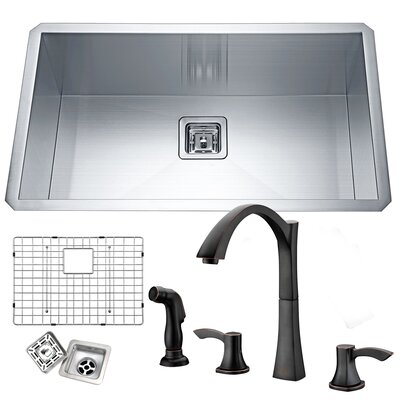 Vanguard Stainless Steel 32 x 19 Undermount Kitchen Sink with Faucet Faucet Finish: Oil Rubbed Bronze