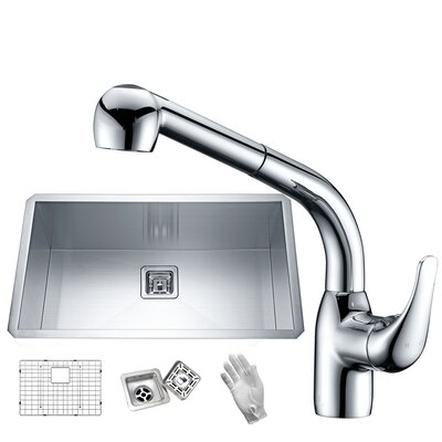 Vanguard Stainless Steel 32 x 19 Undermount Kitchen Sink with Faucet Faucet Finish: Polished Chrome