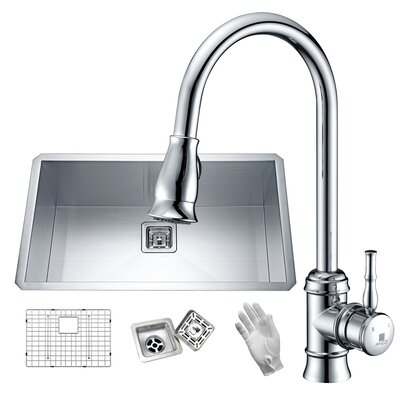 Vanguard Stainless Steel 32 x 19 Undermount Kitchen Sink with Faucet