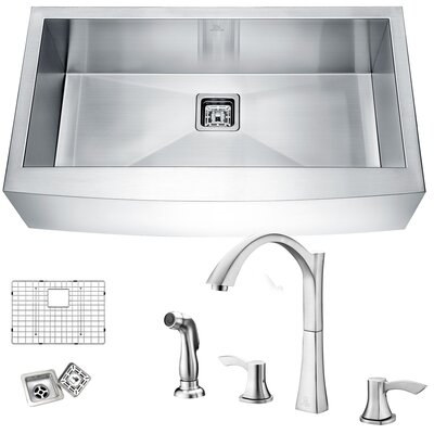 Elysian Stainless Steel 32 x 21 Farmhouse Kitchen Sink with Faucet Faucet Finish: Brushed Nickel