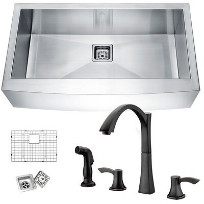 Elysian Stainless Steel 32 x 21 Farmhouse Kitchen Sink with Faucet Faucet Finish: Oil Rubbed Bronze
