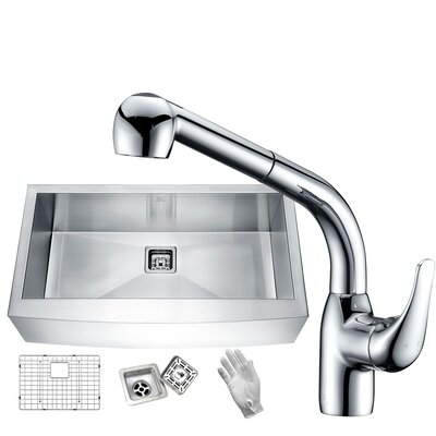 Elysian Stainless Steel 32 x 21 Farmhouse Kitchen Sink with Faucet Faucet Finish: Polished Chrome