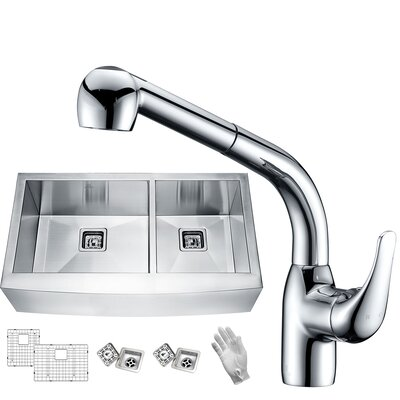 Elysian Stainless Steel 33 x 21 Double Basin Farmhouse Kitchen Sink with Faucet Faucet Finish: Polished Chrome
