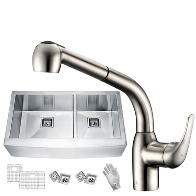 Elysian Stainless Steel 33 x 21 Double Basin Farmhouse Kitchen Sink with Faucet Faucet Finish: Brushed Nickel