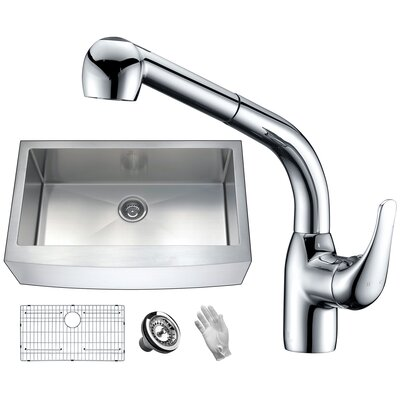 Elysian Stainless Steel 36 x 21 Farmhouse Kitchen Sink with Faucet Faucet Finish: Polished Chrome