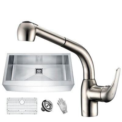 Elysian Stainless Steel 36 x 21 Farmhouse Kitchen Sink with Faucet Faucet Finish: Brushed Nickel