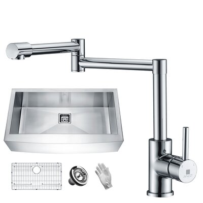 Elysian Stainless Steel 36 x 21 Farmhouse Kitchen Sink with Faucet