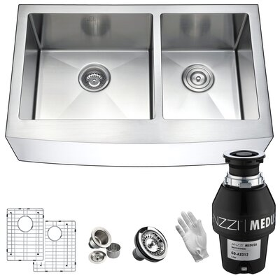 Elysian Stainless Steel 36 x 21 Double Basin Farmhouse Kitchen Sink Garbage Disposal: 1/2 HP