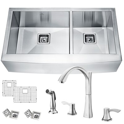 Elysian Stainless Steel 36 x 21 Double Basin Farmhouse Kitchen Sink with Faucet Faucet Finish: Brushed Nickel