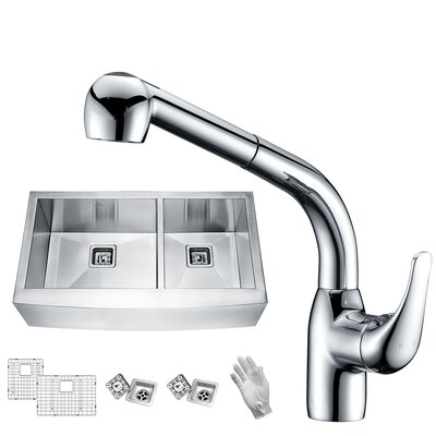 Elysian Stainless Steel 36 x 21 Double Basin Farmhouse Kitchen Sink with Faucet Faucet Finish: Polished Chrome