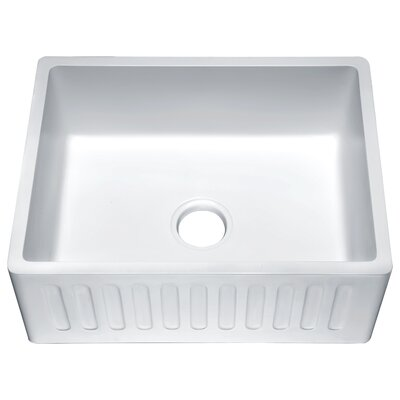 Roine Single Bowl 9 x 18 Farmhouse Kitchen Sink Finish: Glossy White