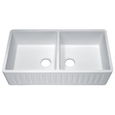 Roine 9 x 18 Double Basin Farmhouse Kitchen Sink Finish: Matte White