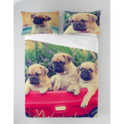 Pugs in Wagon Duvet Cover Set Size: Queen