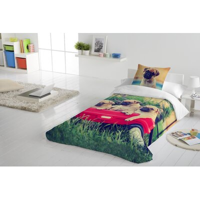Pugs in Wagon Duvet Cover Set Size: Twin