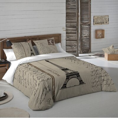 Paris Postcard 3 Piece Duvet Cover Set Size: Queen