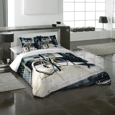 Bicycle 3 Piece Duvet Cover Sset Size: King