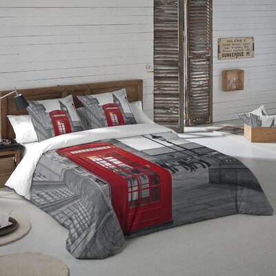 London Phone Booth 3 Piece Duvet Cover Set Size: Queen