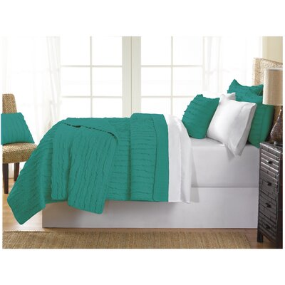 Cobscook 100% Cotton Quilt Set Size: Queen, Color: Teal