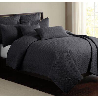 Caitlin 100% Cotton Quilt Set Size: Queen, Color: Charcoal