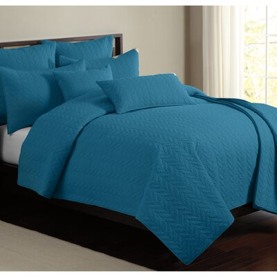 Caitlin 100% Cotton Quilt Set Size: Twin, Color: Teal
