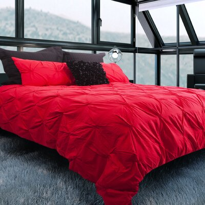 Brackenridge 100% Cotton 3 Piece Queen Duvet Set Color: Red