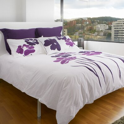 Bridgeport 100% Cotton 3 Piece Queen Duvet Set Color: Natural/Purple