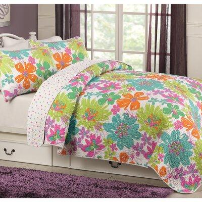 Danielle 100% Cotton Reversible Quilt Set Size: Twin
