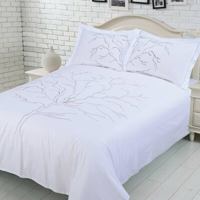 Callista 100% Cotton Duvet Cover Set Size: Queen, Color: White