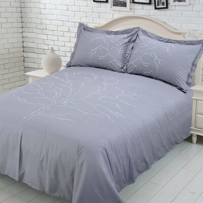 Callista 100% Cotton Duvet Cover Set Size: Queen, Color: Gray