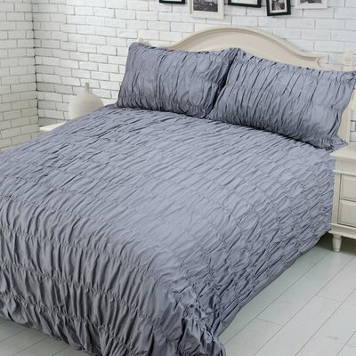 Brownsville 100% Cotton Duvet Cover Set Size: Twin, Color: Gray