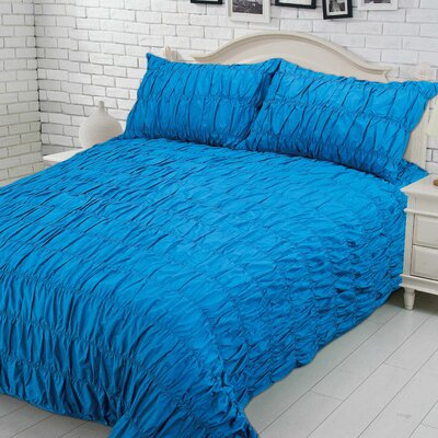 Brownsville 100% Cotton Duvet Cover Set Size: Full, Color: Teal