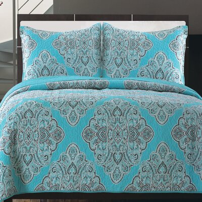 Everson 100% Cotton 3 Piece Reversible Quilt Set Size: King