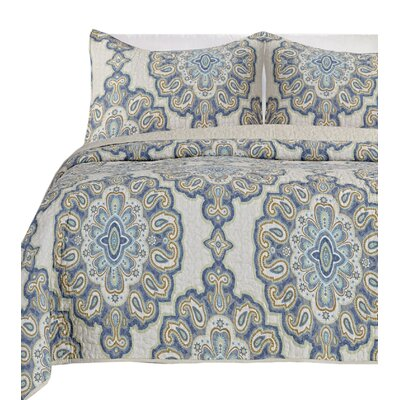 Beauford 100% Cotton 3 Piece Reversible Quilt Set Size: Queen