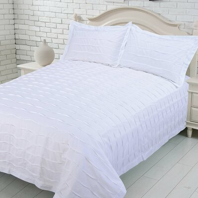 Carrabelle 100% Cotton Duvet Cover Set Size: Queen, Color: White