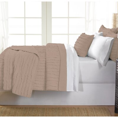 Cobscook 100% Cotton Quilt Set Size: Queen, Color: Beige