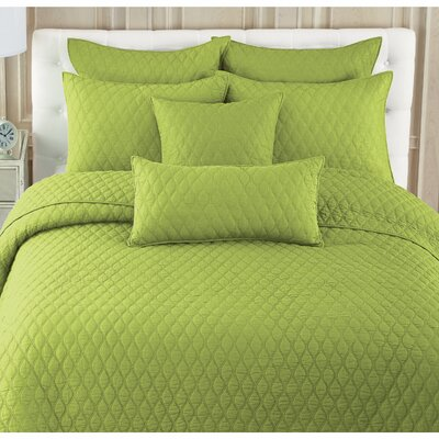 Etten 100% Cotton Quilt Set Size: Twin, Color: Lime
