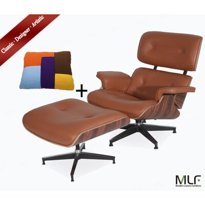 Lounge Chair and Ottoman Upholstery: Italian Leather Dark Brown, Finish: Walnut Veneer