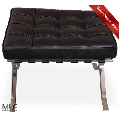 Leather Ottoman Fabric: Black, Leather Type: Aniline Leather