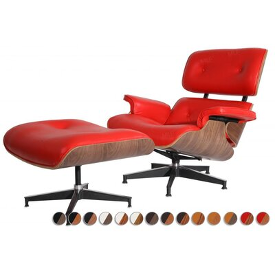 Lounge Chair and Ottoman Finish: Palisander Veneer, Upholstery: Italian Leather Red