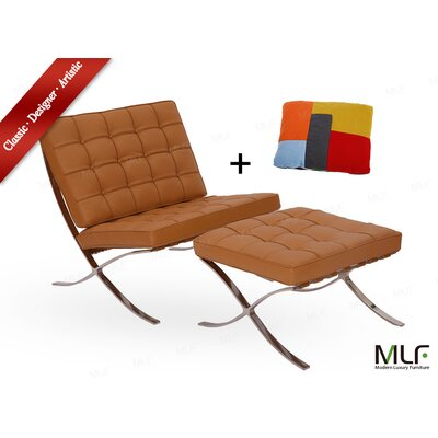 Lounge Chair and Ottoman Upholstery: Italian Leather Light Brown/Tan