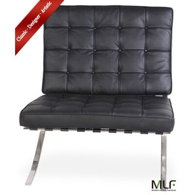 Lounge Chair Upholstery: Italian Leather Black