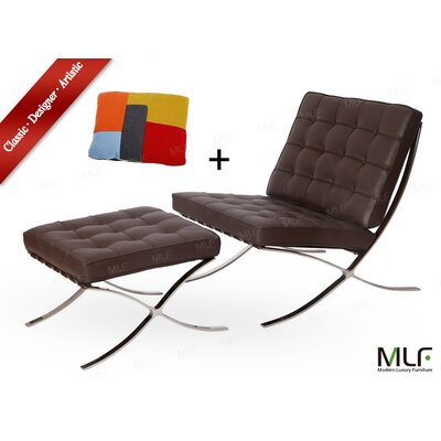 Lounge Chair and Ottoman Upholstery: Aniline Leather Dark Brown/Tan