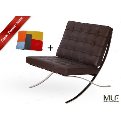 Lounge Chair Upholstery: Aniline Leather Dark Brown/Tan